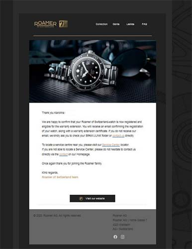 Podziękowanie za rejestrację zegarka na stronie Roamer