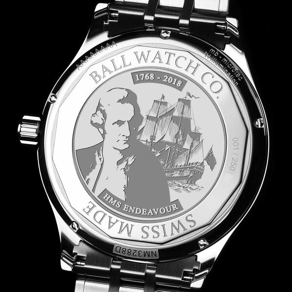 Dekiel zegarka Ball Trainmaster Endeavour Chronometer NM3288D-S2CJ-WH z wizerunkiem Jamesa Cooka