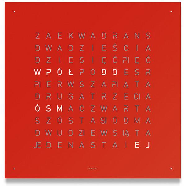 Qlocktwo Classic 45x45cm Red Pepper zegar ścienny i stojący. Wersja w języku polskim!